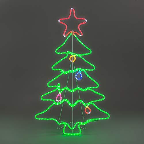 CHRISTOW Flashing Christmas Tree Rope Light Silhouette Outdoor Decoration (H114cm x W70cm)