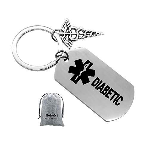 Llavero con diseño de diabético, con Texto en alemán Diabetic - Diabetiker Geduldig Metal Keychain