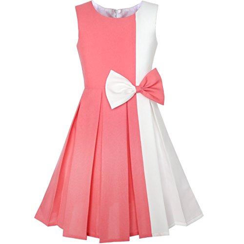 Sunny Fashion Mädchen Kleid Farbblock Kontrast Krawatte Coral Weiß Party Gr. 134
