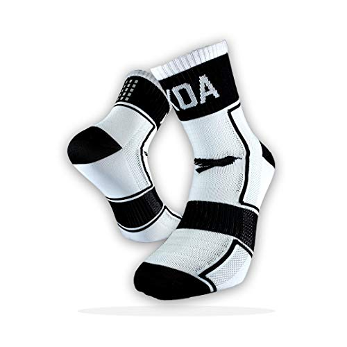 KOA ELITE Performance High visibility Cycling and Running Socks Light compression arch support for Men and Women All season Seat wicking Quick Dry sports sock WHITE FEARLESS