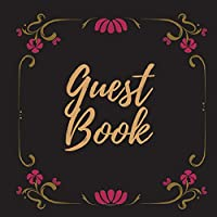 Guest Book - Gold Frame #17 -For any occasion -Light Green Color Pages - 8.5 x 8.5 Inches - 82 pages
