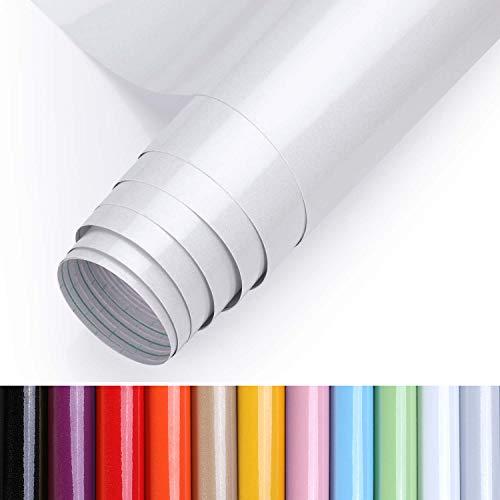 KINLO Aufkleber Küchenschränke weiß 40x500cm (2㎡) aus hochwertigem PVC Tapeten Küche Klebefolie Möbel wasserfest Aufkleber für Schrank selbstklebende Folie Küchenfolie Dekofolie MIT GLITZER