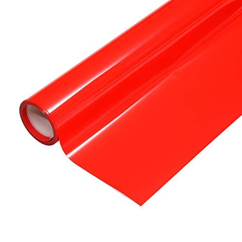 "Heat Transfer HTV Vinyl,12"" x 6.5 FT HTV Vinyl Rolls, Fluorescent Color,for Decor Sticker, Weeding Machine, Craft Cutter Machine, Printers, Letters, Car Decal, Vinyl Paper (Fluorescent Red)"