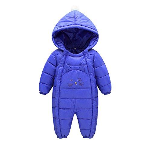 AHATECH Unisexe Bébé Combinaison Hiver Chaude à Capuche Barboteuse Bébé Garçon Fille Grenouillères -Bleu