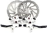 Yorbay Fahrrad Scheibenbremse Set, 160mm Scheiben und vorne hinten Bremse mit BB5 Bremsbeläge und Kabel (Weiß) (Mehrweg)