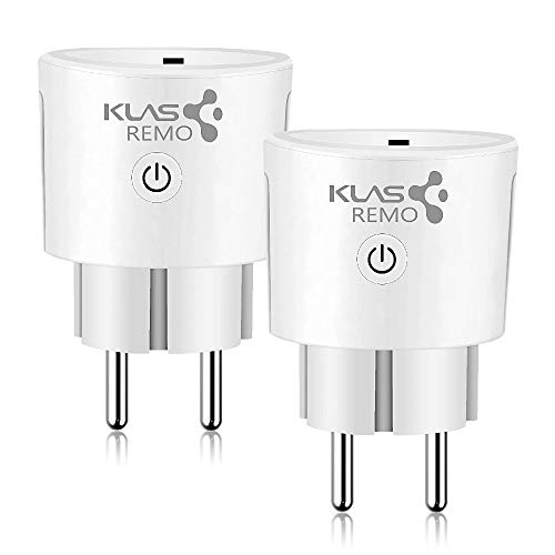 KLAS REMO Enchufe Inteligente WIFI Smart Plug, Enchufe Wifi compatible con Amazon Alexa Echo Dot Google Home, Enchufe inteligente Interruptor Programador Inalámbrico Control Remoto - 2PACK