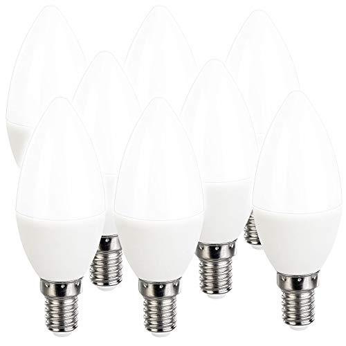 Luminea LED-Glühbirne E14: 8er-Set LED-Kerzen, tageslichtweiß, 470 Lumen, E14, 6 Watt, 6500 K (Tageslicht Glühbirnen)