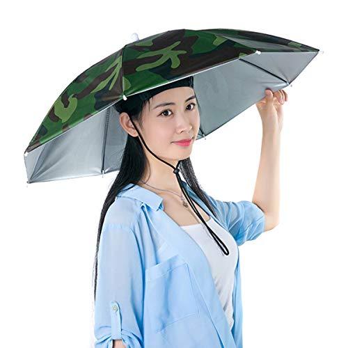 Esenlong Sombrero de pesca plegable, resistente al agua y a los rayos UV, sin manos, camuflaje, M