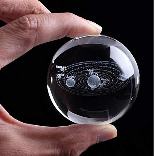 Angoter Miniature Sistema Solar System 3D Sfera di Cristallo inciso Solare Pianeti del Modello Glass Globe Ornamento Palle Home Decor Colore Casuale