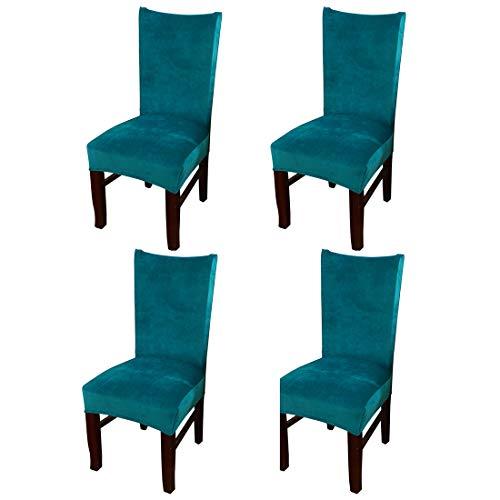 Yuer – Juego de 4 fundas de silla de comedor extensibles, de terciopelo suave, suave, para banquetes de boda, hotel, casa, azul pavo