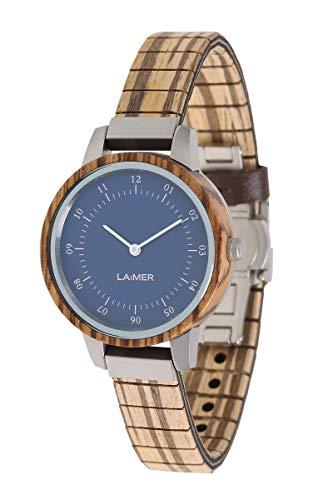 LAiMER Damen-Armbanduhr EILEEN Mod. 0083 aus Zebranoholz - Analoge Quarz-Uhr mit flexiblem Holzarmband