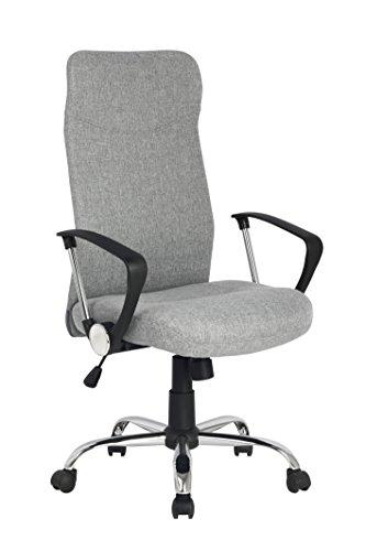 SixBros. Bürostuhl, Schreibtischstuhl mit hoher Rückenlehne, Drehstuhl für's Büro oder Home-Office, stufenlos höhenverstellbar & Metalldrehkreuz, Chefsessel mit Stoffbezug, grau H-935-6/2165