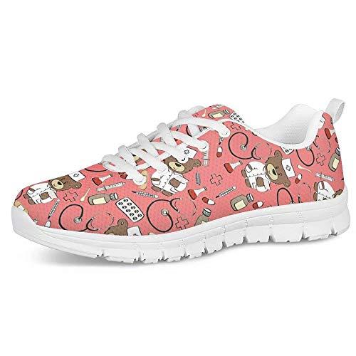 POLERO Zapatos Deportivos para Mujer, Zapatillas Planas con diseño de Osos, Zapatillas de Tenis con Cordones de Malla, Zapatos para Correr Ligeros y Casuales, EU 38,Rosa
