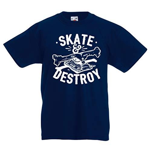 lepni.me Camiseta para Niño/Niña ¡Patina y destruye! Regalo para Patinadores, Amantes del Skate (5-6 Years Azul Oscuro Multicolor)