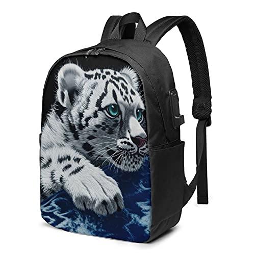 Little Tiger - Zaino da viaggio con porta di ricarica USB, per uomini e donne, 17 pollici, Come mostrato, Taglia unica,