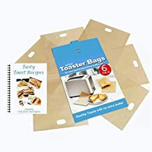 ekSel Toaster Bags Gluten Free Toasts Reusable Non-Stick Any Size Bread FDA Approved 6 Pack