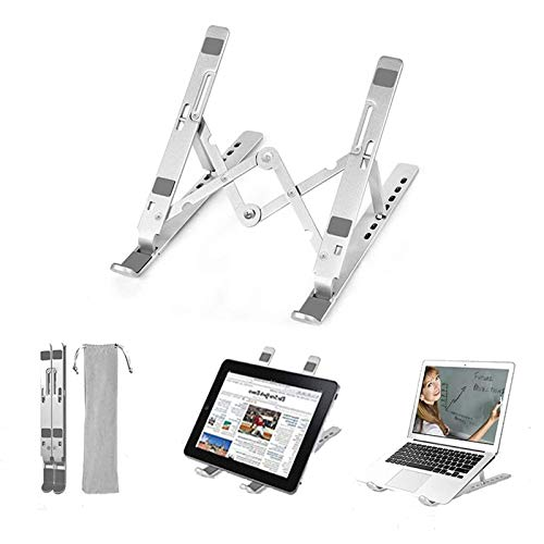 ERTYU 2020 Laptop Stand Foldable, 7-Levels Adjustable Laptop Riser Mount with Carry Bag, Ergonomic Aluminum Laptop Stand Ventilated PC Holder for 9-17.3 inches Laptops