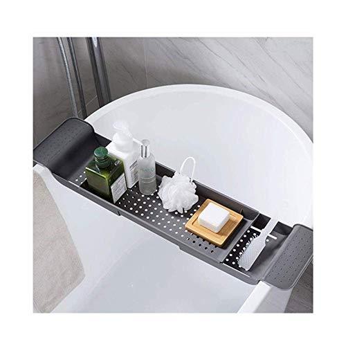 LLKK Bath Tub Caddy, Plastic Bathtub Caddy Tray Telescopic Drain Bathtub Rack Bathroom Shower Organizer Bath Basin Storage Rack Best Gift (55-78cm)