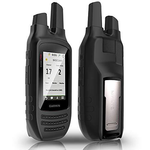 TUSITA Case for Garmin Rino 750 755T - Silicone Protective Cover - Handheld GPS Accessories (Black)