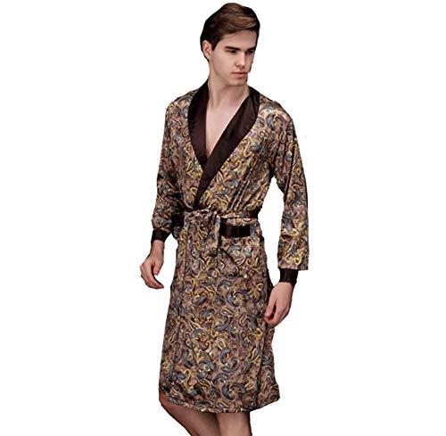 Herren Nachthemd Robe Satin Kimono Morgenmantel Herren Kimono Robe Lang Ärmel Bademantel Schlafanzug Nachtwäsche Seide Pyjamas
