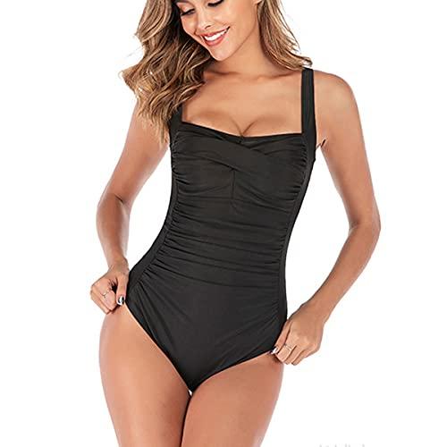 SEDEX Badeanzug Damen-Sexy Einteiler Badeanzug Damen Bauchweg Monokini Sport Bademode Frauen Mollige Große Größe Schwimmanzug(Schwarz,XL)