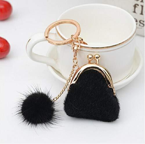 XUJINQI creatieve metalen sleutelhanger, mini unieke sleutelhangers portemonnee vrouwen pompon-konijnen-pelz-kogel pluche sleutelring houder meisjestas charme (3 stuks) zwart