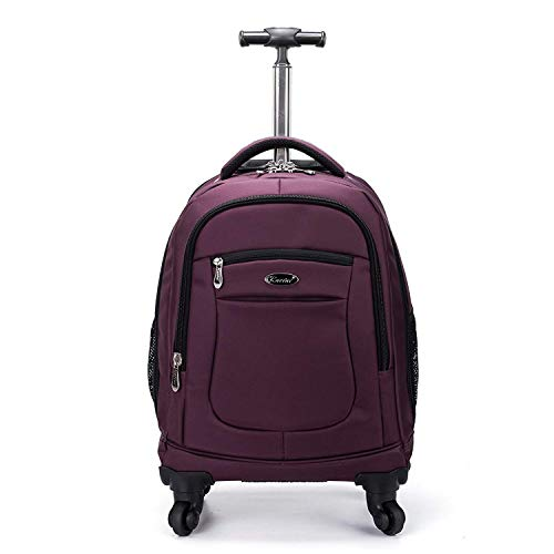 Racini Nylon Rolling Backpack, Water-Resistant Travel Wheeled Backpack, Carry-On Luggage with Anti-theft Zippers, Purple
