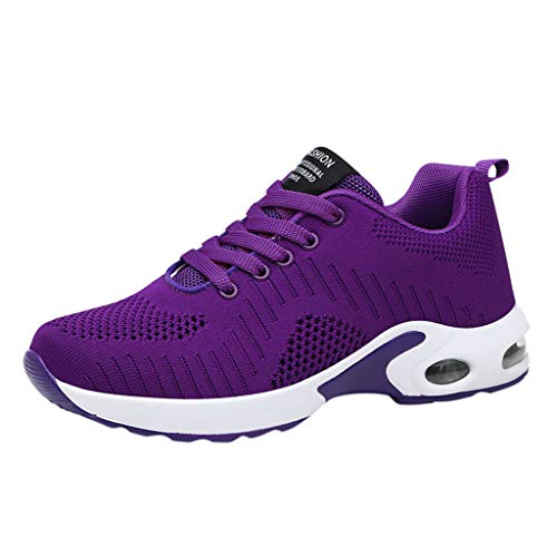 Luckhome Damen Schuhe Damen Sommer Damen Schuhe Sommer Warehouse Deals Fitness Turnschuhe Art- und Weisedamen Breathable rutschfeste Kissen-Turnschuh-beiläufige laufende Schuhe(Lila,EU:39)