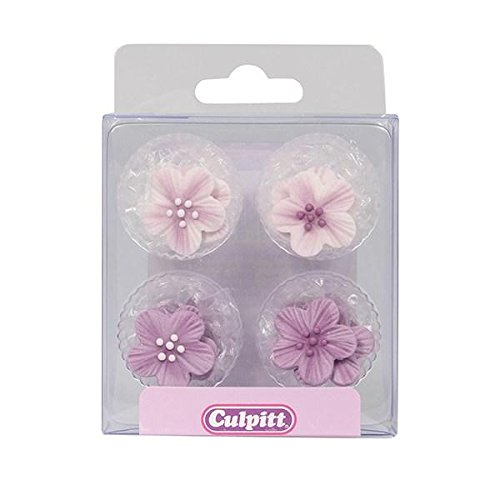 Lilac Flower Sugar Toppers - 12 Pack