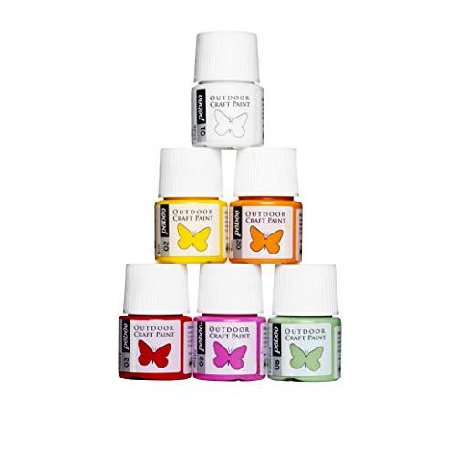 Panduro Frühlingsfarbe Spring Paint Set 6 x 20 ml wasserfeste Farbe für draußen, zum Bemalen von Holz, Steinen, Metall, Beton, Leder - Outdoor Farbe zum Basteln
