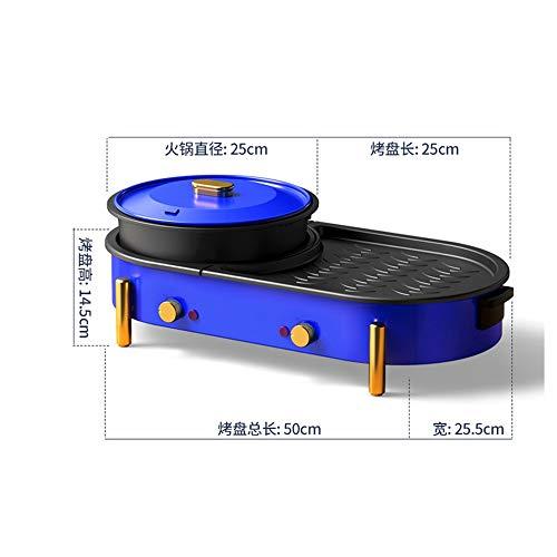 41OptUGmh8L - KOIUJ Haushalt Multi-Funktions-Grill Bratpfanne Dual Purpose Barbecue Hot Pot EIN Pot Elektro Hot Pot Elektro-Backen-Wannen-Rinse-Wannen-Koch Pan gegrillte Pan-Blau