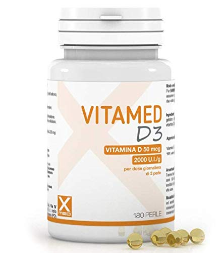 Vitamed D3 – Vitamina D - 180 Perle – 2000 UI - Alto Dosaggio – Donna Uomo Bambini | XMED