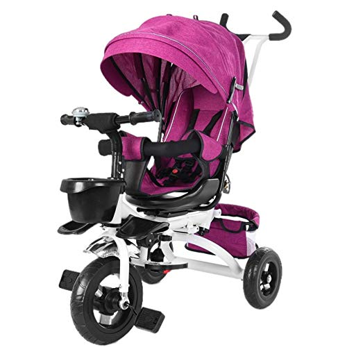 Foldable Baby Tricycle, Kptoaz 5-in-1 Kids Folding Trike Stroller with Rotatable Seat, Adjustable Push Handle & Removable Canopy, Storage Bag Push Tricycle for Toddlers (one Size, Purple)