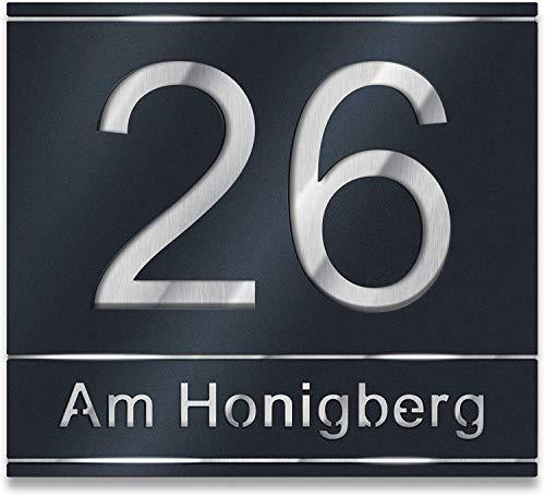 Hausnummer aus Edelstahl direkt vom Hersteller - Anthrazit RAL7016 - Schwarz - Weiß - ver. Größen S-XL Hausnummernschild (Mit Straßenname)