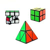HJXDJP- 3種類の異なる知育パズル 簡単のマジックキューブのコレクション 1x3x3 2x2x2 & 2段ピラミンクス-黒素体 標準色
