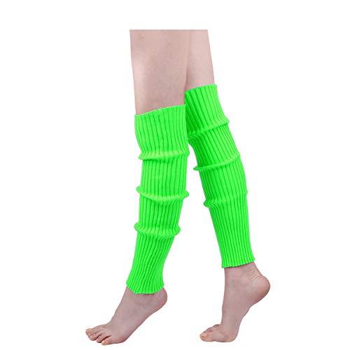 KQueenStar Calentadores de pierna acanalados para mujer de los años 80 – calcetines largos de ganchillo de punto para yoga, deporte, accesorios de ballet - - Talla única