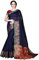 COTTON SHOPY Women's Kanchipuram Cotton Blend Saree With Unstitched Blouse Piece (Cott-2022_Dark Blue)