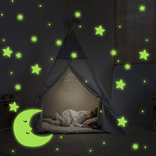 Incutex 533x Leuchtsterne Leuchtpunkte Sterne und Mond Aufkleber Sternenhimmel fluoreszierend und selbstklebend Wandtattoo Leuchtaufkleber
