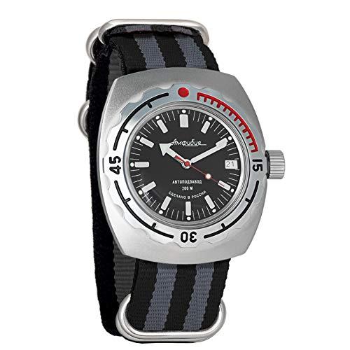 Vostok Amphibian. Reloj de pulsera automático militar ruso, n.º 090662, negro y verde
