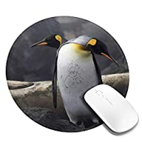 丸型マウスパッド ゲーミングマウスパッド ペンギンプリント おしゃれ オフィス自宅兼用 滑り止めゴム底 耐洗い表面 厚地 精密度アップ 光学式マウス対応 20*20cm 厚さ3mm