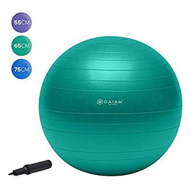 Gaiam Total Body Balance Ball Kit - Includes 65cm Anti-Burst Stability Exercise Yoga Ball, Air Pump, Workout Program