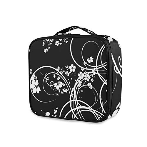 Maquillage Sac De Stockage Outils Cosmétique Train Case Art Noir Blanc Élégant Fleur Motif Voyage Trousse De Toilette Bourse Portable