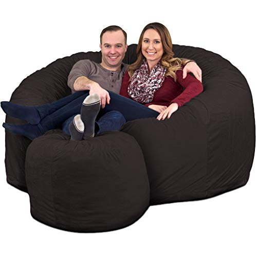 ULTIMATE SACK Bean Bag Chair w/Foot Stool in Multiple Sizes and Colors: Giant Foam-Filled Furniture - Machine Washable Covers, Double Stitched Seams, Durable Inner Liner. (Grey Suede, 6000)
