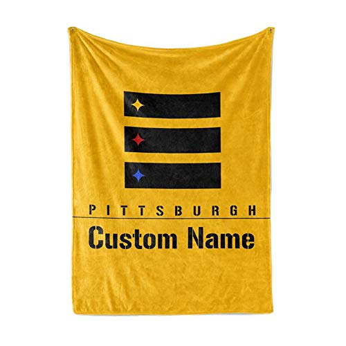 Shoebilly Custom Football Fleece Throw Blanket Pittsburgh Alternate Logo Warm Lightweight Blankets Men Women Kids Apparel