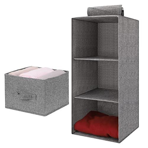 Organizador Colgante para Armario 3 Niveles Estantería Colgante de Tela con 1 cajón Estante de Almacenamiento Colgantes para Ropa Bolso Zapatos (Gris)
