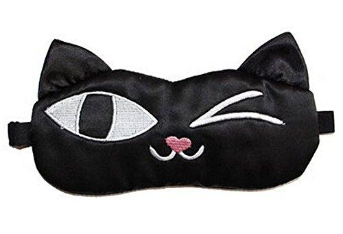 Chat mignon Dessin animé en soie sommeil Masque pour les yeux Bandeau pour yeux confortable Bureau Masque pour les yeux