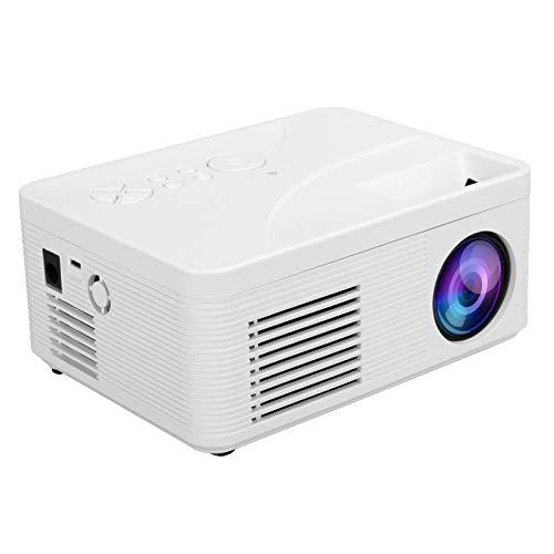 Goshyda Videoproiettore Portatile, Mini proiettore HD 1080P TV Home Theater Proiezione da Parete Video per Esterni con interfaccia di Ingresso Multipla, per AV/USB/HDMI/Memoria ridotta, ECC.(Bianca)