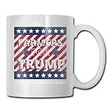 Lawenp Farmers For Trump 2020 Taza de café reutilizable con mango Taza de cerámica divertida