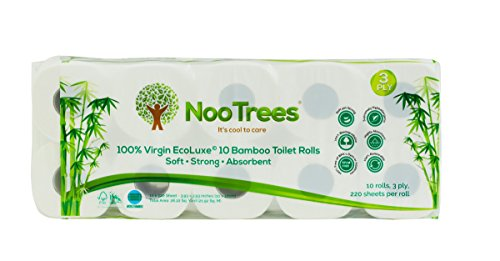 NooTrees Bamboo 3-ply Bathroom Tissue, 220 Sheets, 10 Rolls, Ecofriendly, 100 Percent Biodegradable & Sustainable, Hypoallergenic, Ultra Absorbent Velvety Soft, FSC Certified, Pack of 4