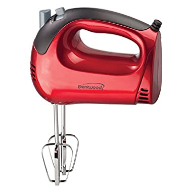 Brentwood HM-46 5-Speed Tone Color Hand Mixer, Red